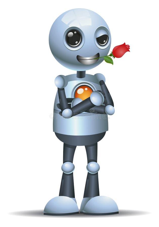 小的机器人浪漫bitting上升了 库存例证