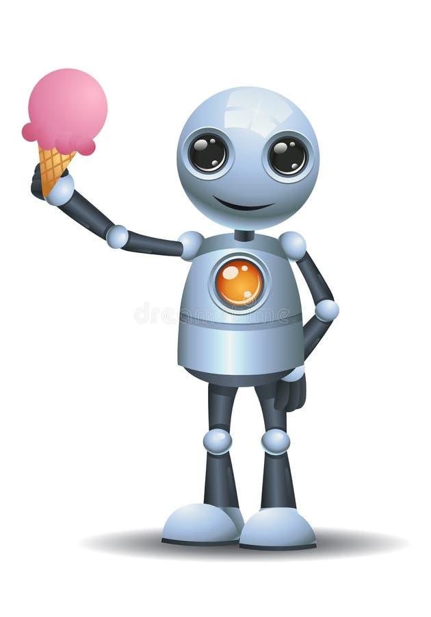 小的机器人藏品融解冰淇淋 皇族释放例证