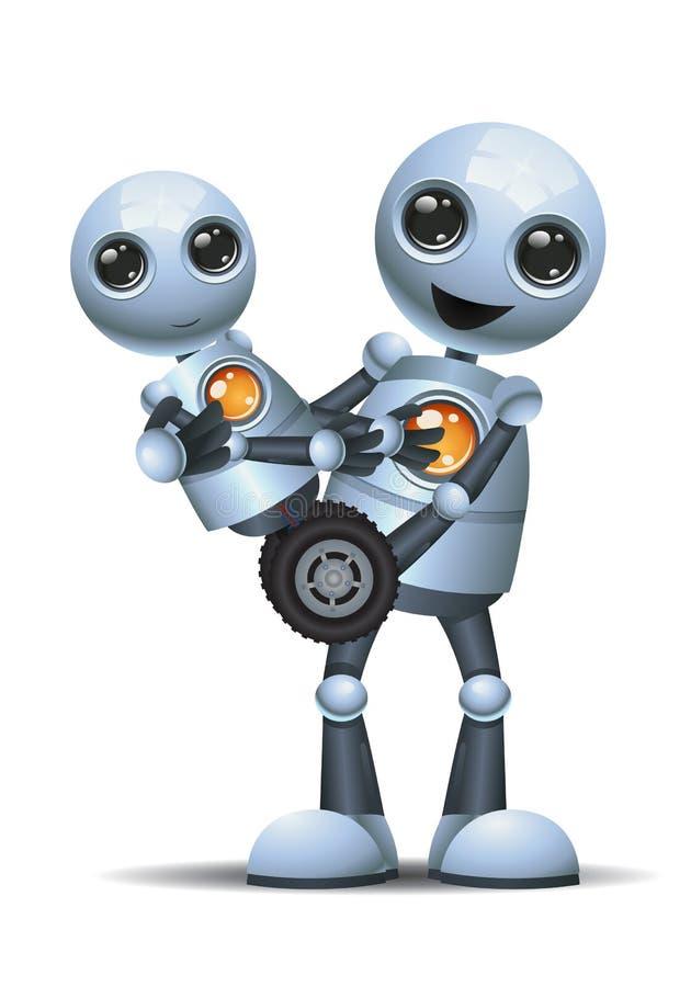 小的机器人运载婴孩小的机器人 皇族释放例证