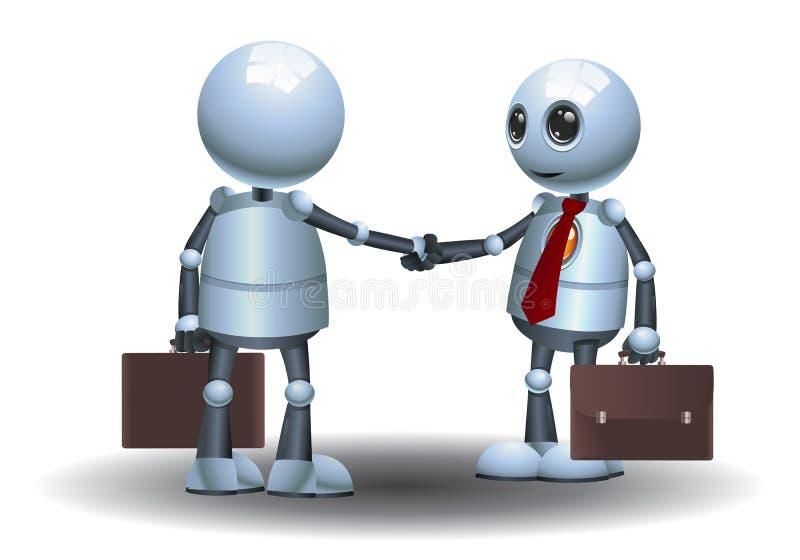 小的机器人队企业握手图象 皇族释放例证