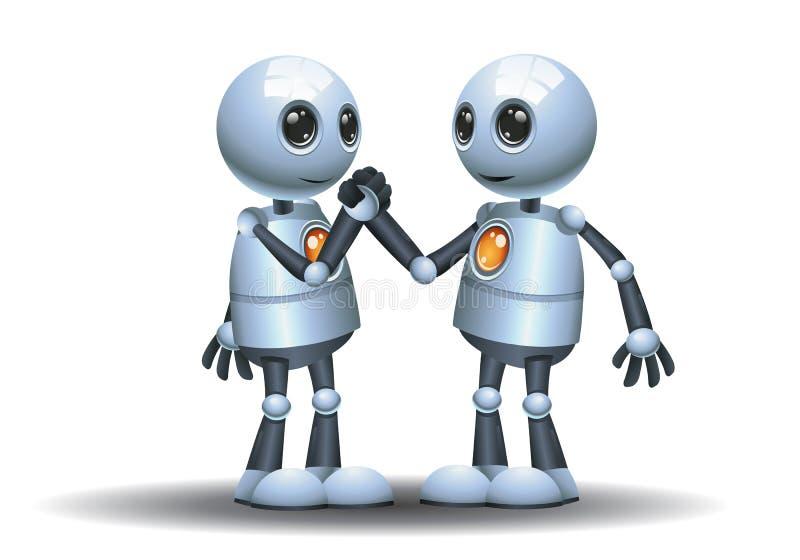 小的机器人队伙伴握手图象 向量例证