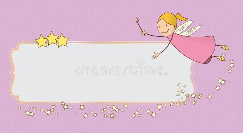 小的桃红色神仙的飞行卡片横幅 库存例证