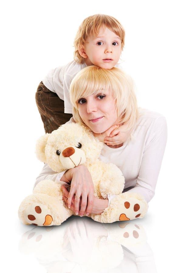 小的母亲儿子年轻人 免版税图库摄影