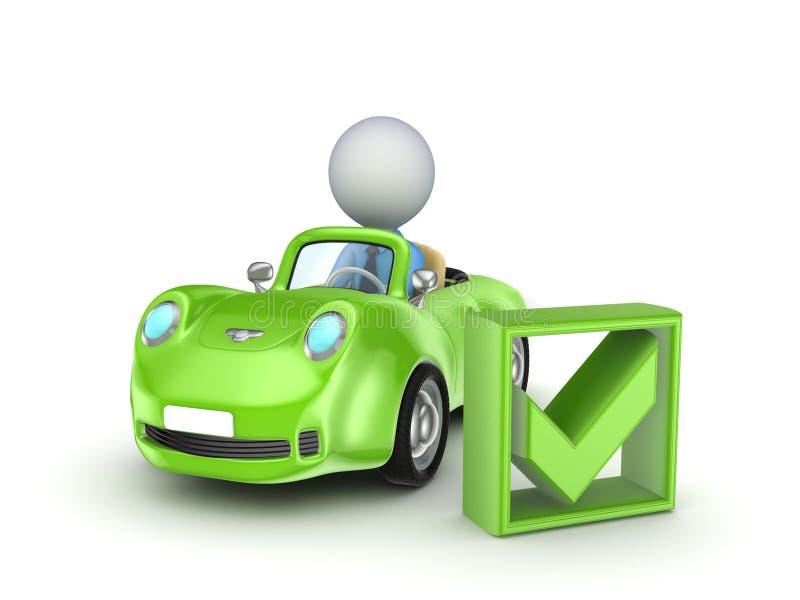小的汽车和绿色滴答声标记。 库存例证