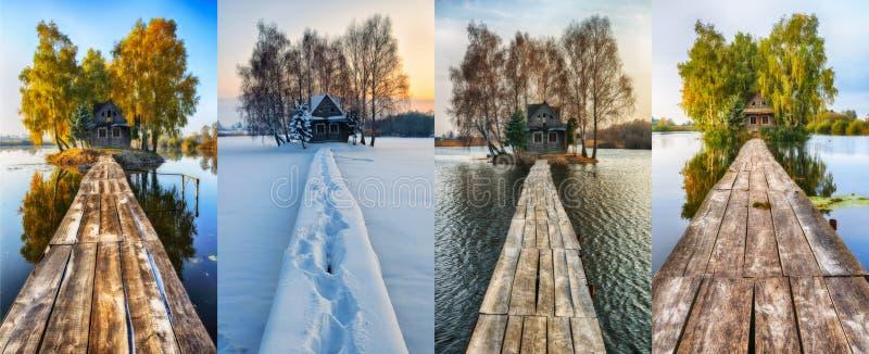 小的海岛 四个季节 在所有季节的一个美丽如画的小屋 免版税库存图片