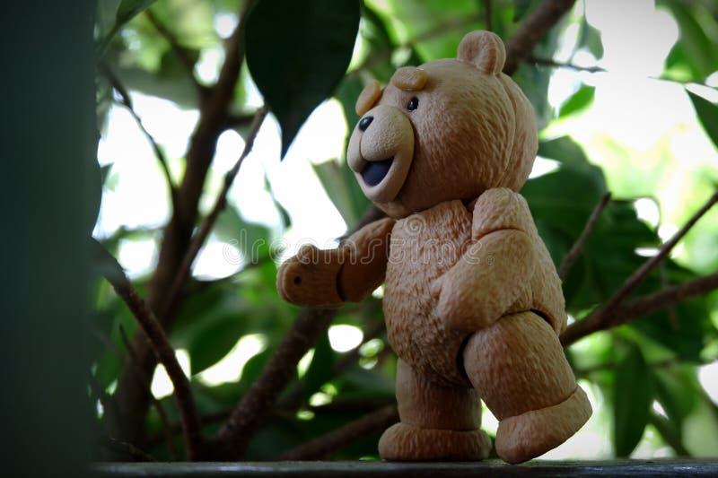 小的熊发现叶子 免版税图库摄影