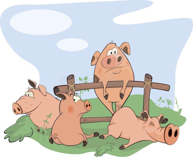 小的猪动画片 库存例证