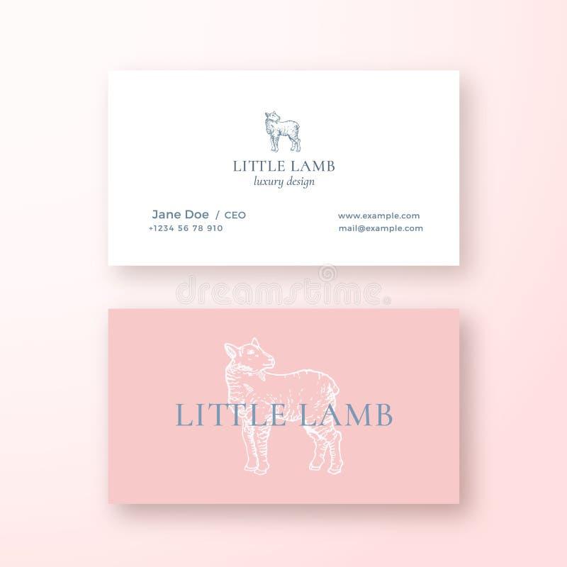 小的羊羔摘要女性传染媒介标志或商标和名片模板 优质固定式现实嘲笑 向量例证