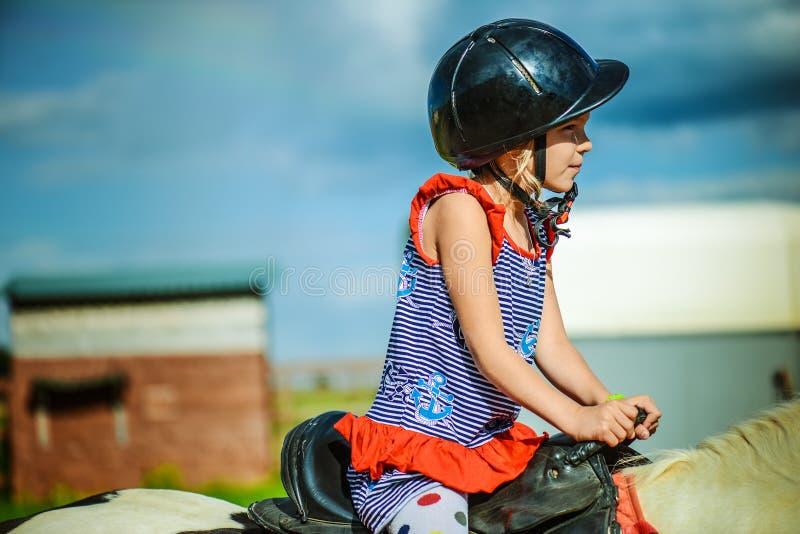 小的美丽的女孩骑乘马 免版税库存图片