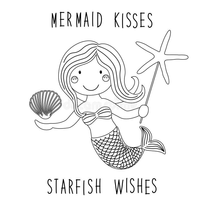 小的美人鱼逗人喜爱的幼稚手拉的漫画人物与海海星,壳的当着色页 向量例证