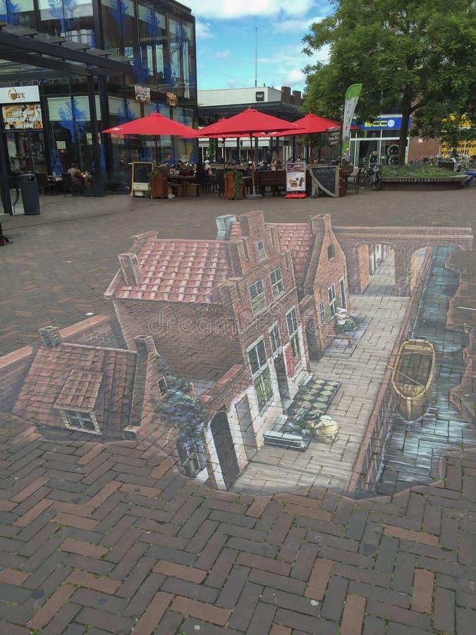 小的街道3D的弗美尔 库存照片