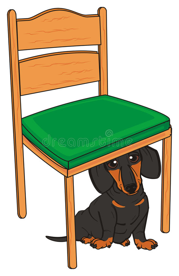 小的达克斯猎犬和椅子 向量例证