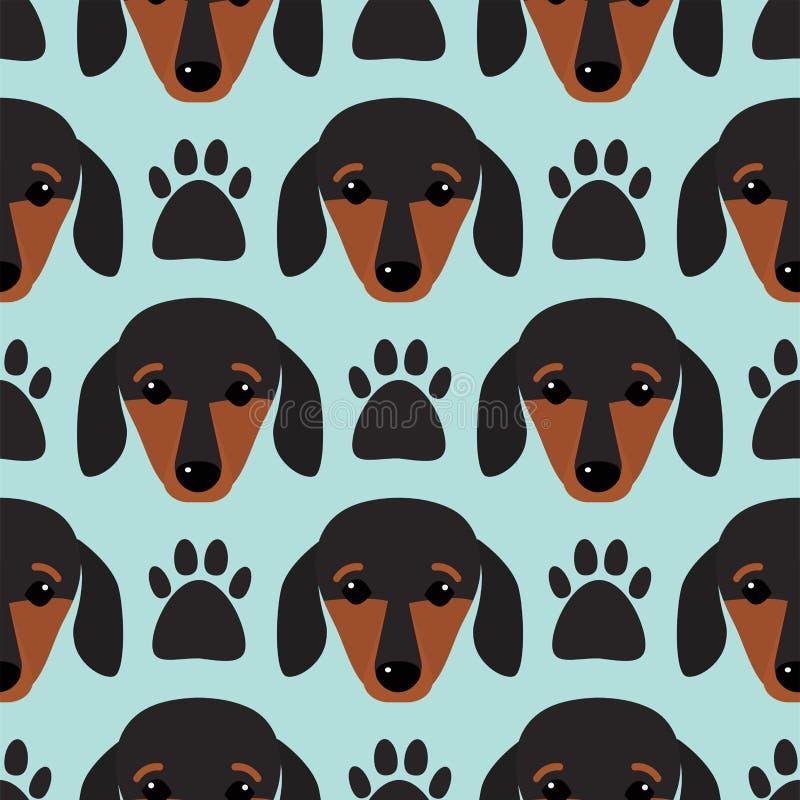 小的达克斯猎犬小狗头无缝的样式狗年轻有来历动物品种传染媒介例证 向量例证