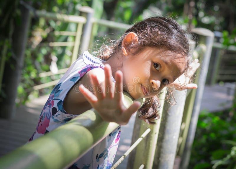 小的逗人喜爱的女孩舒展她的在篱芭的胳膊 免版税库存图片
