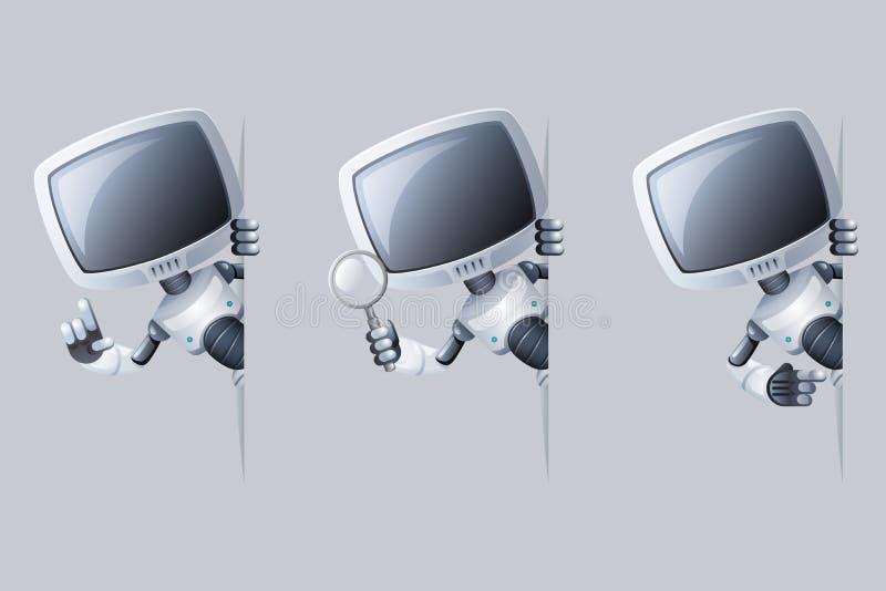 小的逗人喜爱的显示器头机器人看壁角帮助技术科幻未来销售3d设计传染媒介例证 向量例证
