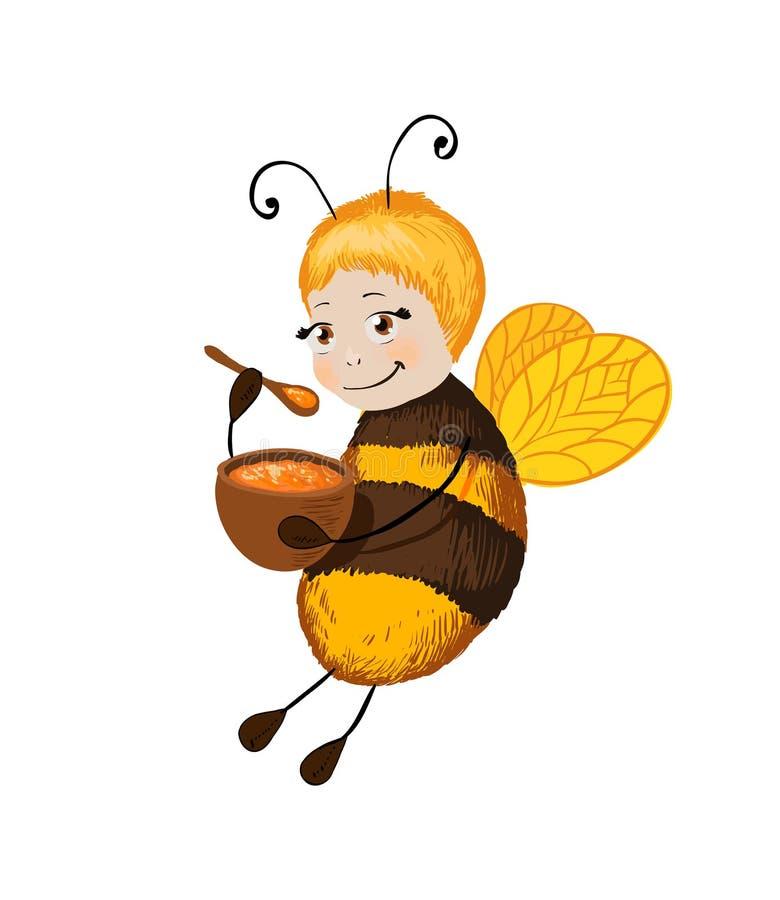 小的逗人喜爱的蜂用蜂蜜 微笑字符适用于甜点包装的设计对待与蜂蜜或贴纸口味在chil 向量例证