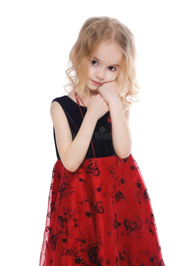 小的镇静女孩纵向 免版税库存照片