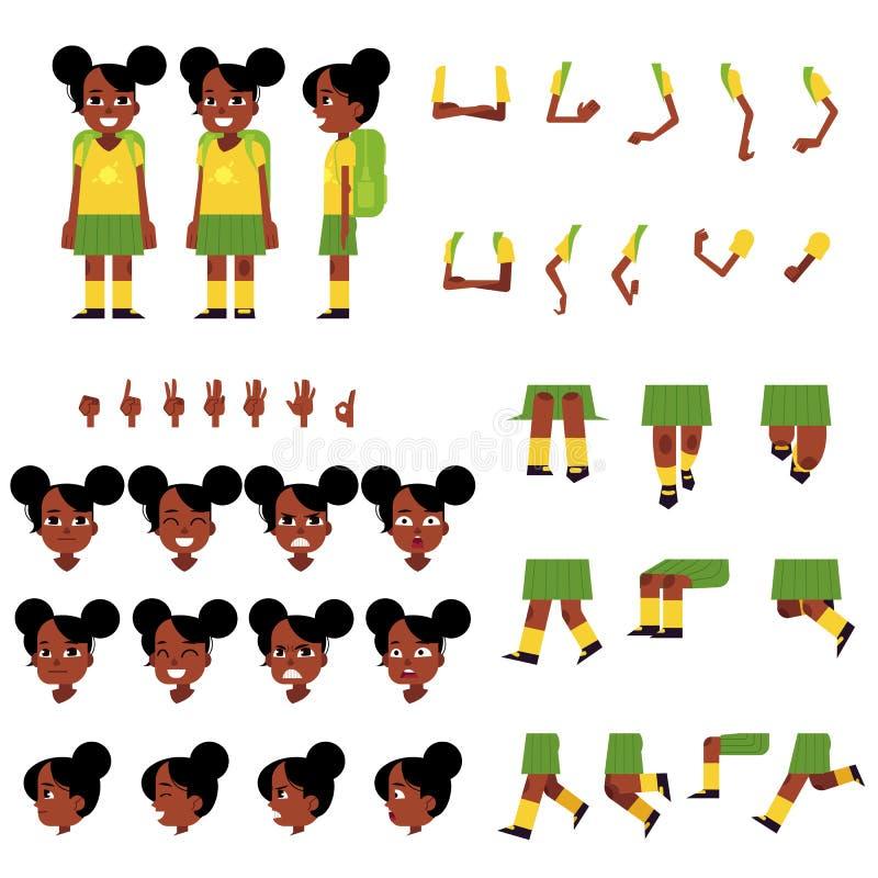 小的非洲女小学生创作设置了-女孩漫画人物有背包的 皇族释放例证