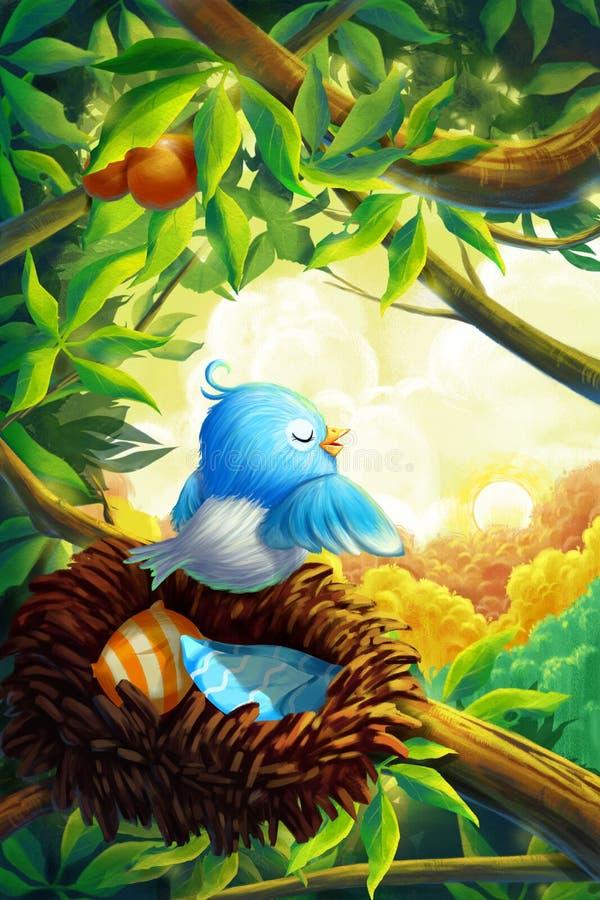 小的鸟在有意想不到,现实和动画片样式的早晨森林里 库存例证