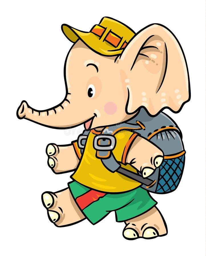 小的婴孩大象去野营 库存例证