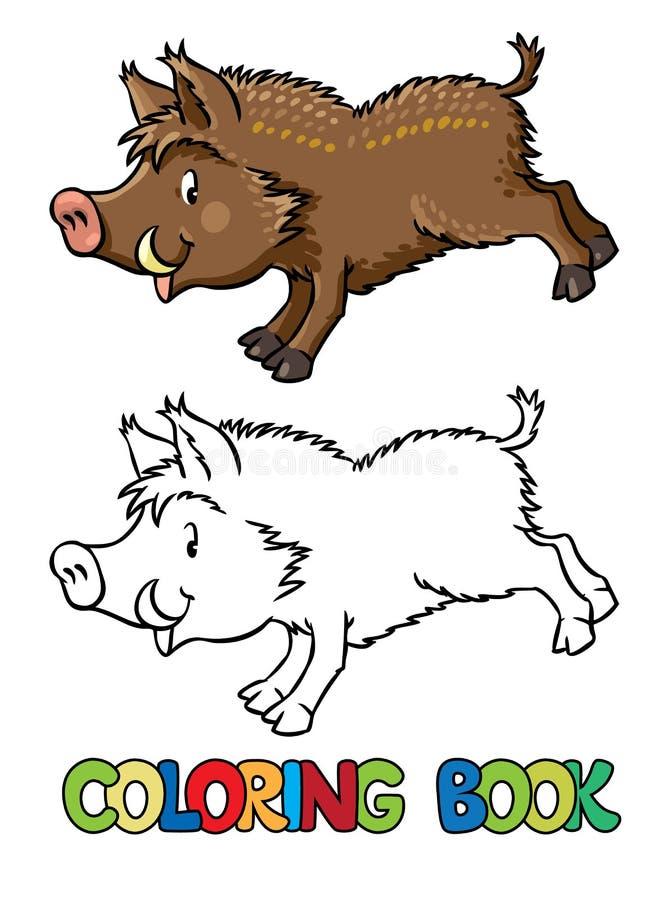 小的滑稽的公猪或野生猪彩图  库存例证