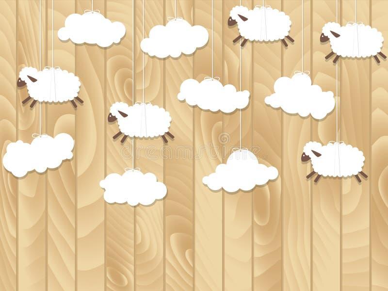 小的绵羊在木背景飞行 也corel凹道例证向量 皇族释放例证
