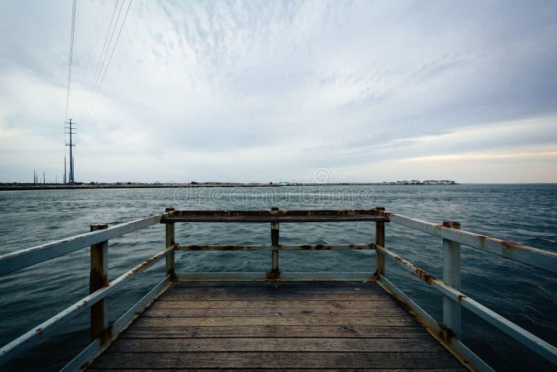 小码头在印地安河,在Bethany海滩附近,特拉华 免版税图库摄影