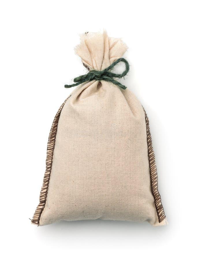 小空白的亚麻制织品袋子顶视图  图库摄影