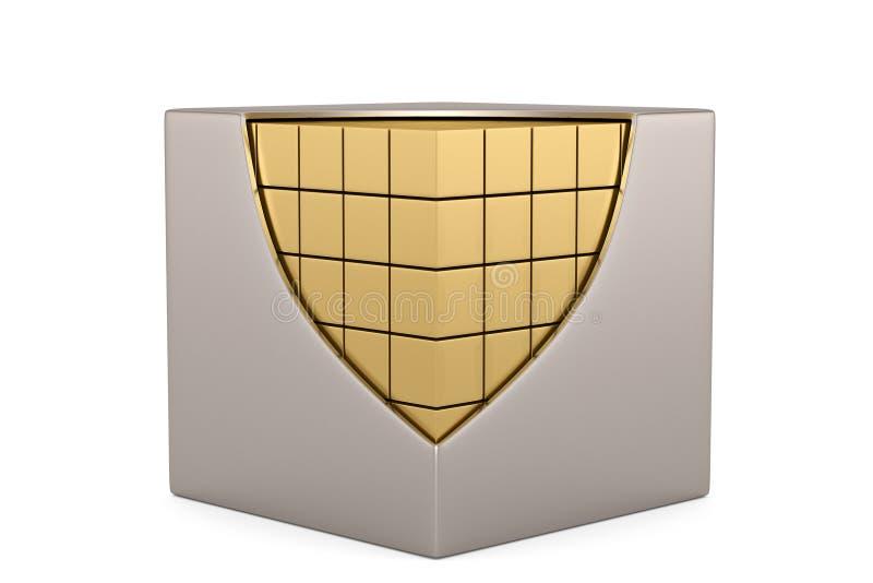 小立方体一个大立方体在白色背景的 3d?? 库存例证