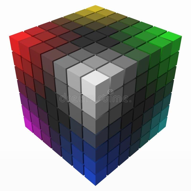 小立方体做在大立方体形状的颜色梯度  黑版本 3d样式传染媒介例证 皇族释放例证