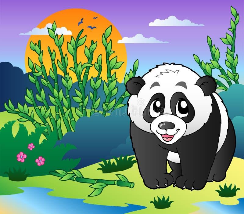 小竹逗人喜爱的森林的熊猫 皇族释放例证