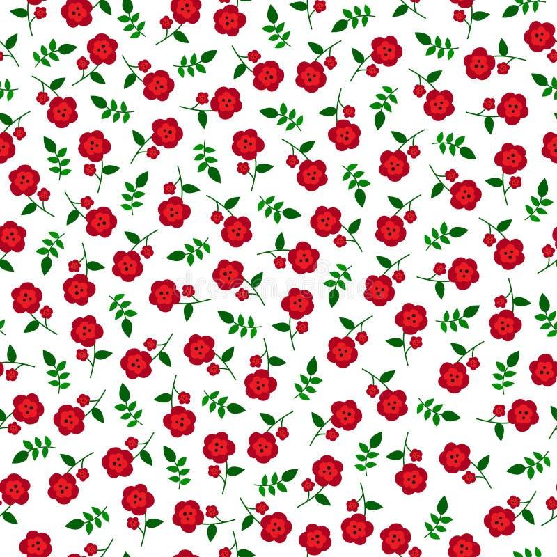 小红色开花无缝的样式 库存图片