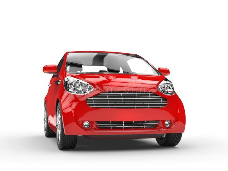 小红色紧凑车的前面车灯视图 向量例证