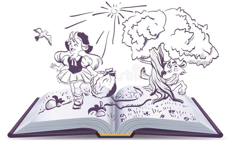 小红骑兜帽和灰狼的传说 打开书幻想 向量例证