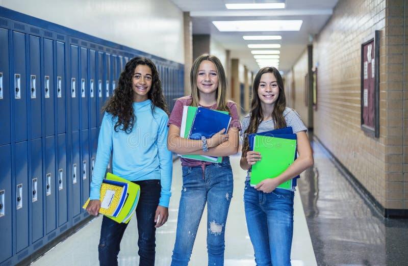 小组一起站立在学校走廊的初中学生 库存照片