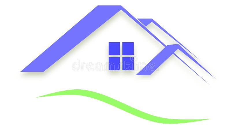 小组三个屋顶房子屋顶商标,不动产 库存例证