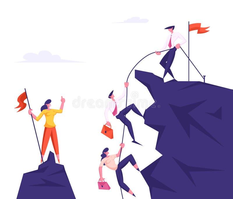 小组上升在山峰的商人,拉扯有绳索的,协助,团队工作的领导人同事 皇族释放例证