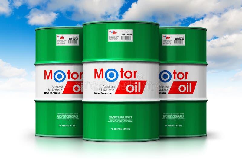 小组与机油润滑剂的桶反对蓝天 皇族释放例证