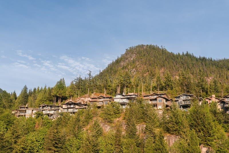 小组乡间别墅和村庄在山腰在密集的森林中 库存图片