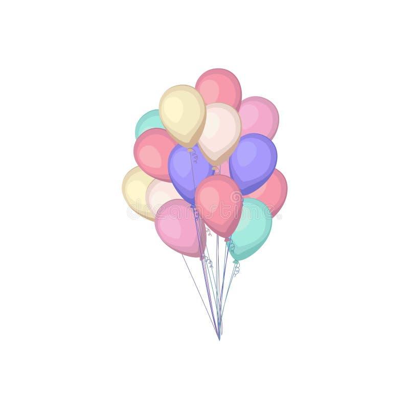 小组五颜六色的气球 在动画片平的样式的气球被隔绝的束  皇族释放例证