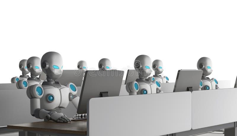 小组使用计算机的机器人在白色背景 火炮 向量例证