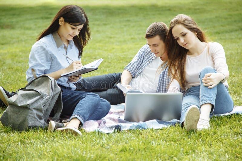 小组可爱的青年人为与学习参考书的检查和膝上型计算机做准备坐草坪 学生团体和tutori 免版税库存照片