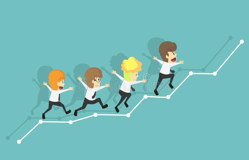 小组商人赛跑长大图表 企业年轻人动画片 向量例证