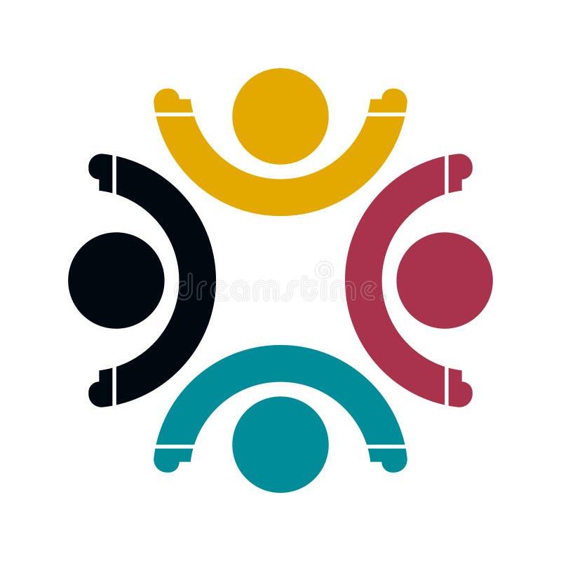 小组四人在圈子的商标握手,配合象 E 库存例证