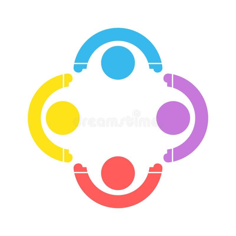 小组四人在圈子的商标握手,配合象 E 向量例证