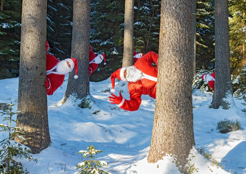 小组圣诞老人项目在多雪的树后招呼 库存照片