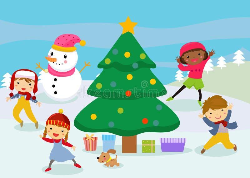 小组圣诞节孩子和雪人 向量例证
