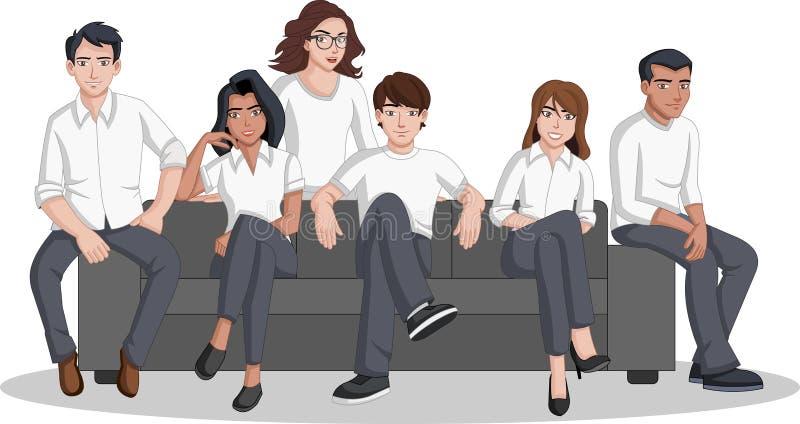 小组在沙发安装的动画片人 皇族释放例证
