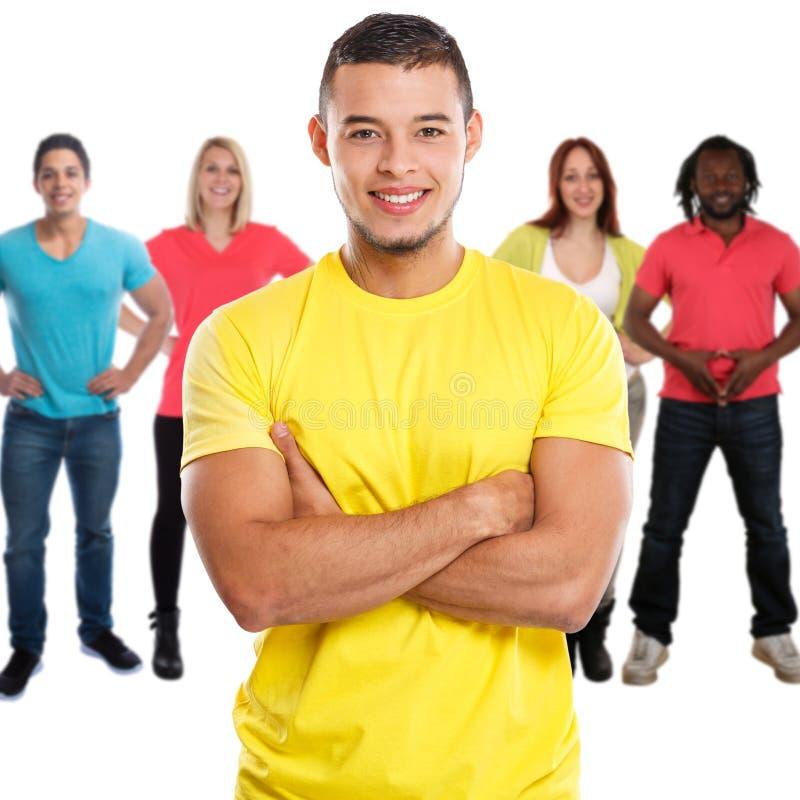 小组在白色隔绝的朋友年轻人正方形 免版税库存图片