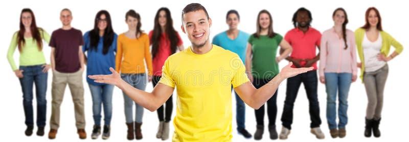 小组在白色隔绝的朋友年轻人社会媒介拉丁拉丁美洲人 免版税库存照片